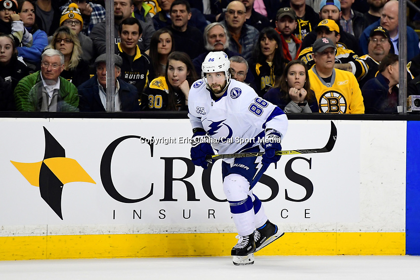 March 29, 2018: Tampa Bay Lightning right wing Nikita Kucherov (86) in game action during the NHL game between the Tampa Bay Lightning and the Boston Bruins held at TD Garden, in Boston, Mass. Boston defeats Tampa Bay 4-2. Eric Canha/CSM