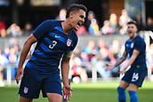 February 2nd 2019, San Jose, California, USA; USA defender Aaron Long (3) reacts to a missed chance during the international friendly match between USA and Costa Rica at Avaya Stadium on February 2, 2019 in San Jose CA.