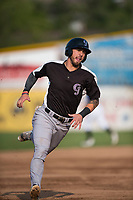 Grand Junction Rockies designated hitter Niko Decolati (16) rounds third base during a Pioneer League game against the Missoula Osprey at Ogren Park Allegiance Field on August 21, 2018 in Missoula, Montana. The Missoula Osprey defeated the Grand Junction Rockies by a score of 2-1. (Zachary Lucy/Four Seam Images)