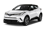 2018 Toyota C-HR C-LUB hybrid 5 Door SUV angular front stock photos of front three quarter view