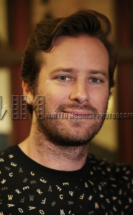 Armie Hammer attends photo call for the Second Stage Theatre Company production of 'Straight White Men'  at Sardi's on June 14 30, 2018 in New York City.