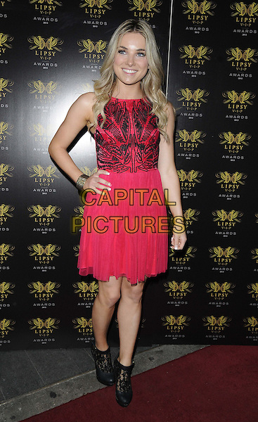 Sian Welby<br /> The Lipsy VIP Fashion Awards 2013, DSTRKT, Rupert St., London, England.<br /> May 29th, 2013<br /> full length purple dress hand on hip black red lace sleeveless <br /> CAP/CAN<br /> &copy;Can Nguyen/Capital Pictures