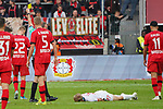 05.10.2019, BayArena, Leverkusen, GER, 1. FBL, Bayer 04 Leverkusen vs. RB Leipzig,<br />  <br /> DFL regulations prohibit any use of photographs as image sequences and/or quasi-video<br /> <br /> im Bild / picture shows: <br /> gelbe Karte für Daley Sinkgraven (Leverkusen #22), fuer ein Foul an Konrad Laimer (RB Leipzig #27),  <br /> <br /> Foto © nordphoto / Meuter