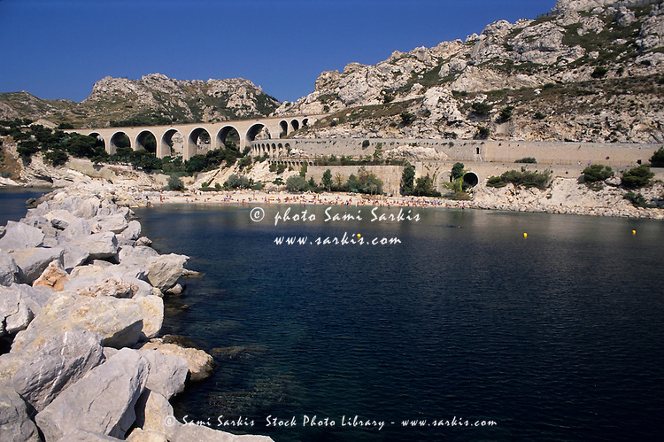 Viaduct and the beach at Corbieres, Estaque, Marseille, France.