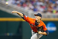 Cal State Fullerton Titans pitcher Thomas Eshelman (15) delivers a pitch to the plate during the NCAA College baseball World Series against the Vanderbilt Commodores on June 14, 2015 at TD Ameritrade Park in Omaha, Nebraska. The Titans were leading 3-0 in the bottom of the sixth inning when the game was suspended by rain. (Andrew Woolley/Four Seam Images)