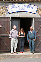 Auguste Commeyras, left, his brother Aime Commeyras, right, with Aime's daughter Christine Domaine l'Aigueliere. Montpeyroux. Languedoc. Owner winemaker. France. Europe.