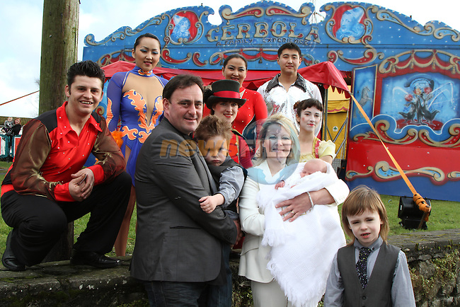 Tara and Michael  Gerbola of Circus Gerbola were due to have their baby Isabella Christened today in The Big Top in Naas.  Isabella was born on New Years Day in the back of the couples four wheel drive on the way to the hospital.  Unfortunately today they found they did not have permission to have the Christening in the tent and so Fr. Michael Ross came to the tent and performed a blessing.  Isabella is to be christened later in the day in a church...(Photo credit should read Jenny Matthews www.newsfile.ie)....This Picture has been sent you under the conditions enclosed by:.Newsfile Ltd..The Studio,.Millmount Abbey,.Drogheda,.Co Meath..Ireland..Tel: +353(0)41-9871240.Fax: +353(0)41-9871260.GSM: +353(0)86-2500958.email: pictures@newsfile.ie.www.newsfile.ie.