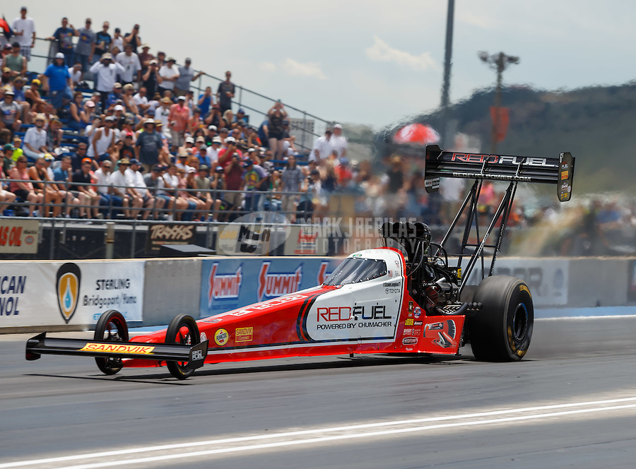 Jul 24, 2016; Morrison, CO, USA; NHRA top fuel driver Shawn Langdon during the Mile High Nationals at Bandimere Speedway. Mandatory Credit: Mark J. Rebilas-USA TODAY Sports