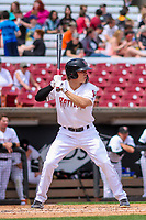 Wisconsin Timber Rattlers outfielder Zach Clark (7) at bat during a Midwest League game against the Lansing Lugnuts on May 8, 2018 at Fox Cities Stadium in Appleton, Wisconsin. Lansing defeated Wisconsin 11-4. (Brad Krause/Four Seam Images)
