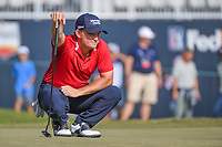 Bud Cauley (USA) looks over his putt on 18 during round 4 of the 2019 Houston Open, Golf Club of Houston, Houston, Texas, USA. 10/13/2019.<br /> Picture Ken Murray / Golffile.ie<br /> <br /> All photo usage must carry mandatory copyright credit (© Golffile | Ken Murray)