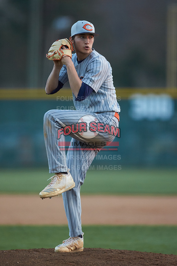 Carson Cougars starting pitcher Owen White (4) in action against the Central Cabarrus Vikings at Central Cabarrus High School on March 16, 2018 in Concord, North Carolina.  The Cougars defeated the Vikings 9-1.  (Brian Westerholt/Four Seam Images)