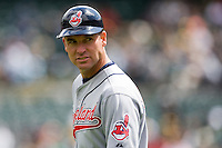 6 April 2008: Indians' Third Base Coach #35 Joel Skinner is seen during the Cleveland Indians 2-1 victory over the Oakland Athletics at the McAfee Coliseum in Oakland, CA.