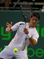 Thomaz Bellucci (BRA) against James Blake (USA) in the second round of the men's singles. Bellucci beat Blake 3-6 6-1 6-2..International Tennis - 2010 ATP World Tour - Sony Ericsson Open - Crandon Park Tennis Center - Key Biscayne - Miami - Florida - USA - Fri 26 Mar 2010..© Frey - Amn Images, Level 1, Barry House, 20-22 Worple Road, London, SW19 4DH, UK .Tel - +44 20 8947 0100.Fax -+44 20 8947 0117