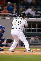 Hector Sanchez (29) of the Charlotte Knights at bat against the Durham Bulls at BB&T BallPark on April 14, 2016 in Charlotte, North Carolina.  The Bulls defeated the Knights 2-0.  (Brian Westerholt/Four Seam Images)