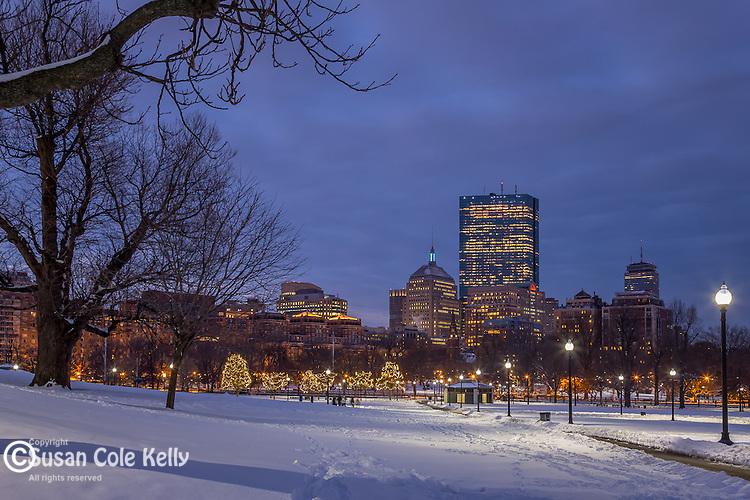 December snow on Boston Common, Boston, Massachusetts, USA