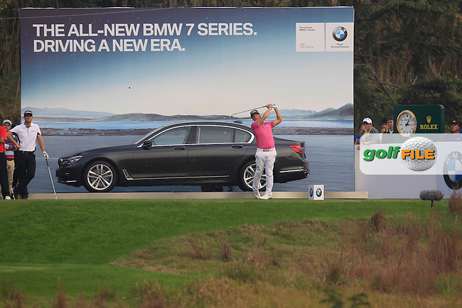 Kristoffer Broberg (SWE) on the 17th during the final round of the BMW Masters, Lake Malarian Golf Club, Boshan, Shanghai, China.  15/11/2015.<br /> Picture: Golffile | Fran Caffrey<br /> <br /> <br /> All photo usage must carry mandatory copyright credit (&copy; Golffile | Fran Caffrey)