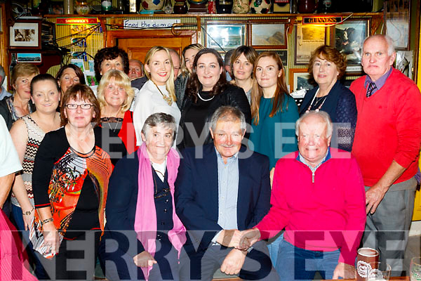 Mike Dowd from Cloghane, seated centre, enjoying his retirement party from Castlegregory Golf Club after 24yrs as head green keeper in O'Connors bar, Cloghane last Saturday night.