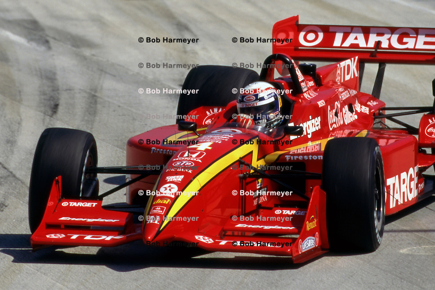 LONG BEACH, CA - APRIL 13: Alex Zanard of Italy, winner of the Toyota Grand Prix of Long Beach, makes a steering correction as his Reynard 97i/Honda slides into Turn 1 during the CART Indy Car race on the temporary Long Beach Street Circuit in Long Beach, California, on April 13, 1997.