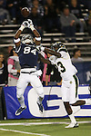 Nevada's Jerico Richardson (84) attempts to catch a pass near the end zone against Colorado State's Bernard Blake (23) during the first half of an NCAA college football game in Reno, Nev., on Saturday, Oct. 11, 2014. (AP Photo/Cathleen Allison)