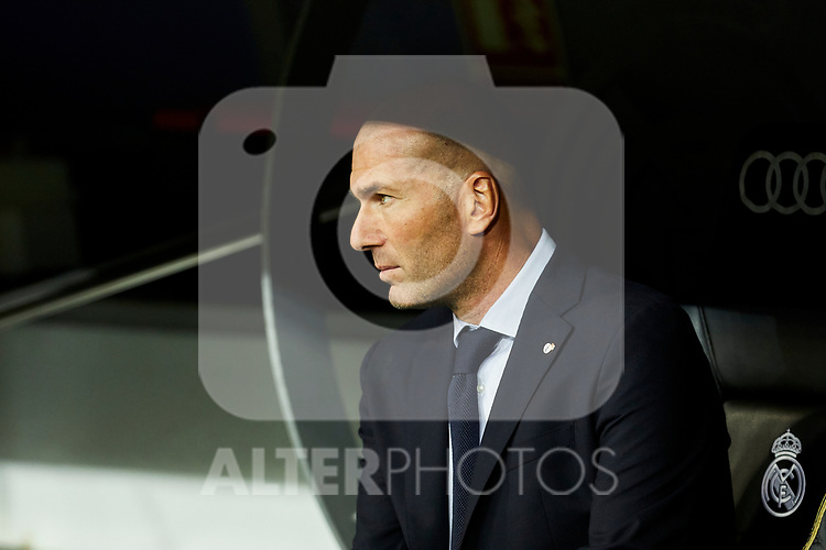 Zinedine Zidane coach of Real Madrid during La Liga match between Real Madrid and CD Leganes at Santiago Bernabeu Stadium in Madrid, Spain. October 30, 2019. (ALTERPHOTOS/A. Perez Meca)