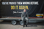 © Joel Goodman - 07973 332324 . 01/05/2015 . Manchester , UK . JOHN LEECH on a party advertising trailer ahead of a Liberal Democrat party rally at Chorlton-cum-Hardy Golf Club . Liberal Democrat party leader Nick Clegg visits the constituency of Manchester Withington to deliver a speech on the NHS and campaign with local candidate John Leech . Photo credit : Joel Goodman