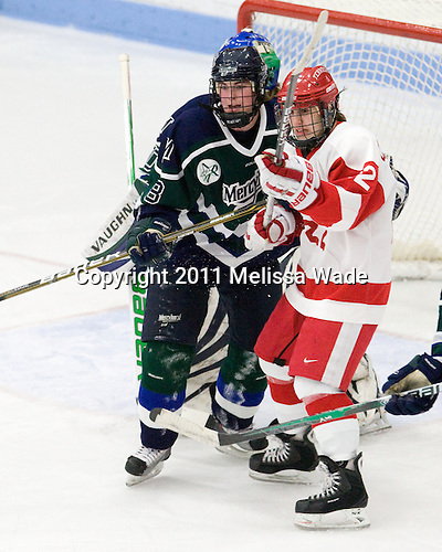 Melissa Lacroix (Mercyhurst - 8), Jill Cardella (BU - 22) - The Boston University Terriers defeated the visiting Mercyhurst College Lakers 4-2 in their NCAA Quarterfinal matchup on Saturday, March 12, 2011, at Walter Brown Arena in Boston, Massachusetts.