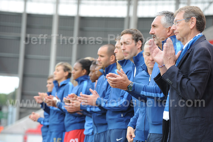 The French bench of subs and coaches during the UEFA Womens U19 Semi-Final at Parc y Scarlets Wednesday 28th August 2013. All images are the copyright of Jeff Thomas Photography-www.jaypics.photoshelter.com-07837 386244-Any use of images must be authorised by the copyright owner.