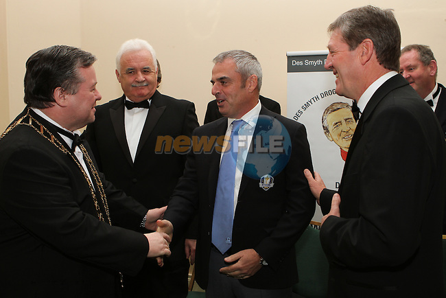 European Team Ryder Cup Captain Paul McGinley meets Mayor of Drogheda Paul Bell at the Des Smyth Foundation Ball in the Boyne Valley Hotel, Drogheda...(Photo credit should read Jenny Matthews/NEWSFILE)...