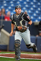 Wisconsin Timber Rattlers catcher Natanael Mejia (14) during the first game of a doubleheader against the Quad Cities River Bandits on August 19, 2015 at Modern Woodmen Park in Davenport, Iowa.  Quad Cities defeated Wisconsin 3-2.  (Mike Janes/Four Seam Images)
