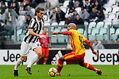 5th November 2017, Allianz Stadium, Turin, Italy; Serie A football, Juventus versus Benevento; Daniele Rugani elegantly avoids Samuel Armenteros