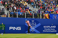 Anne Van Dam of Team Europe on the 1st tee during Day 2 Fourball at the Solheim Cup 2019, Gleneagles Golf CLub, Auchterarder, Perthshire, Scotland. 14/09/2019.<br /> Picture Thos Caffrey / Golffile.ie<br /> <br /> All photo usage must carry mandatory copyright credit (© Golffile | Thos Caffrey)