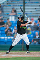 Justin Yurchak (33) of the Great Falls Voyagers at bat against the Helena Brewers at Centene Stadium on August 19, 2017 in Helena, Montana.  The Voyagers defeated the Brewers 8-7.  (Brian Westerholt/Four Seam Images)
