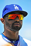 24 July 2011: Los Angeles Dodgers outfielder Matt Kemp looks back to the dugout during a game against the Washington Nationals at Dodger Stadium in Los Angeles, California. The Dodgers defeated the Nationals 3-1 to take the rubber match of their three game series. Mandatory Credit: Ed Wolfstein Photo