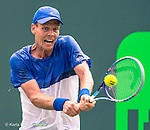 March 29, 2016: Tomas Berdych (CZE) defeats Richard Gasquet (FRA) 6-4, 3-6, 7-5, at the Miami Open being played at Crandon Park Tennis Center in Miami, Key Biscayne, Florida. ©Karla Kinne/Tennisclix/Cal Sports Media