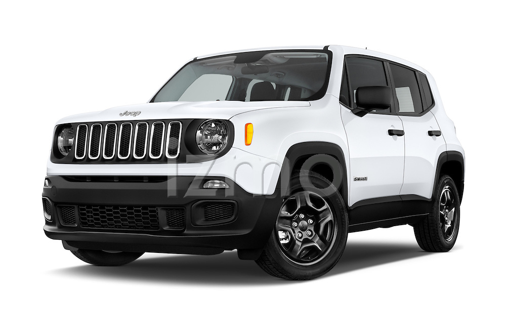 Stock pictures of low aggressive front three quarter view of2015 JEEP Renegade Sport 5 Door Suv Low Aggressive