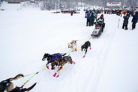 Bailey Schaeffer during the start of the 2018 Junior Iditarod Sled Dog Race on Knik Lake in Southcentral, Alaska.  Saturday February 24, 2018<br /> <br /> Photo by Jeff Schultz/SchultzPhoto.com  (C) 2018  ALL RIGHTS RESERVED