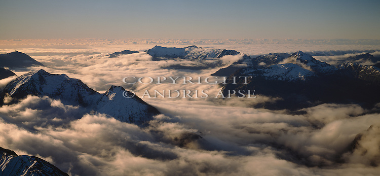 Aerial view of cloud covered Southern Alps. Mount Cook National Park. New Zealand.