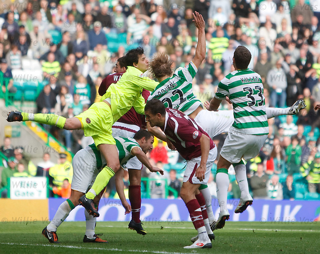 Janos Balogh misses the ball and  lets Glenn Loovens in to score for Celtic