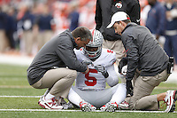 Athletic trainers come out to check on Ohio State Buckeyes quarterback Braxton Miller (5) who was down after a play during the second half of Saturday's NCAA Division I football game against Illinois at Memorial Stadium in Champaign, Il., on November 16, 2013. Ohio State won the game 60-35. (Barbara J. Perenic/The Columbus Dispatch)