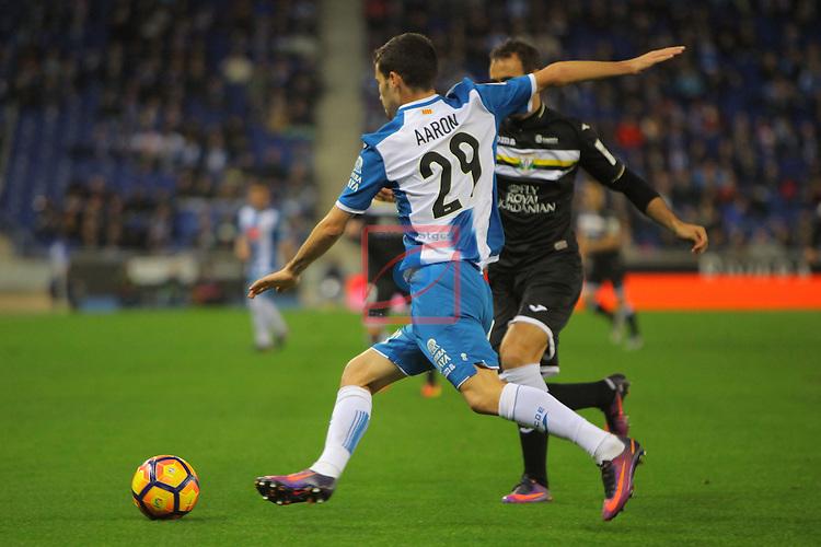 League Santander 2016/2017. Game: 13.<br /> RCD Espanyol vs CD Leganes: 3-0.<br /> Aaron Martin vs Victor Diaz.