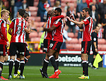 Matt Done of Sheffield Utd celebrates his goal with Ethan Ebanks-Landell of Sheffield Utd during the League One match at Bramall Lane Stadium, Sheffield. Picture date: September 17th, 2016. Pic Simon Bellis/Sportimage