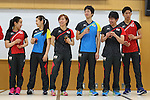 (L to R) <br /> Mima Ito, <br /> Ai Fukuhara, <br /> kasumi Ishikawa, <br /> Jun Mizutani, <br /> Koki Niwa, <br /> Maharu Yoshimura (JPN), <br /> JULY 22, 2016 - Table Tennis : <br /> Japan national team Send-off Party <br /> for Rio Olympic Games 2016 <br /> at Ajinomoto National Training Center, Tokyo, Japan. <br /> (Photo by YUTAKA/AFLO SPORT)