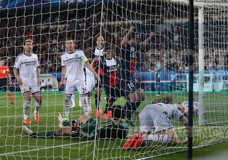 Chelsea's John Terry looks on dejected after David Luiz scores an own goal to put PSG 2-1 up<br /> <br /> Paris Saint Germain vs Chelsea - Champions League - Parc Des Princes- Paris - France - 02/03/2014  - Pic David Klein/Sportimage