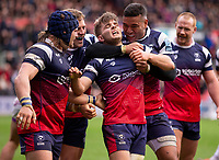 Bristol Bears' Harry Randall celebrates scoring his side's fourth try with team mates<br /> <br /> Photographer Bob Bradford/CameraSport<br /> <br /> Gallagher Premiership - Bristol Bears v Leicester Tigers - Saturday 1st December 2018 - Ashton Gate - Bristol<br /> <br /> World Copyright © 2018 CameraSport. All rights reserved. 43 Linden Ave. Countesthorpe. Leicester. England. LE8 5PG - Tel: +44 (0) 116 277 4147 - admin@camerasport.com - www.camerasport.com