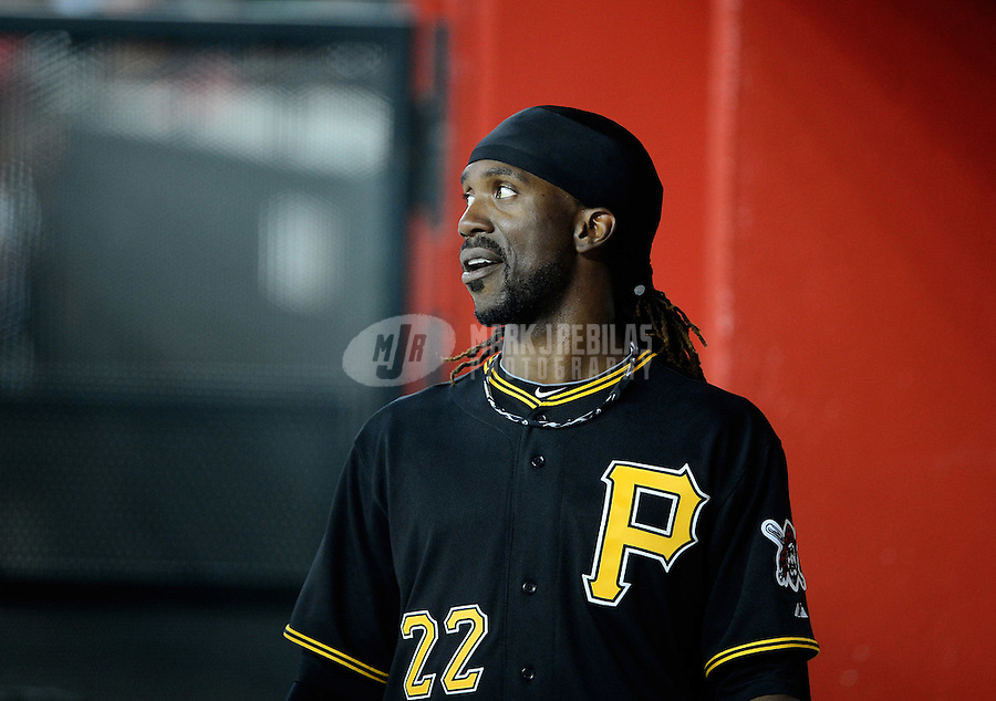 Apr. 17, 2012; Phoenix, AZ, USA; Pittsburgh Pirates outfielder Andrew McCutchen against the Arizona Diamondbacks at Chase Field. The Pirates defeated the Diamondbacks 5-4. Mandatory Credit: Mark J. Rebilas-