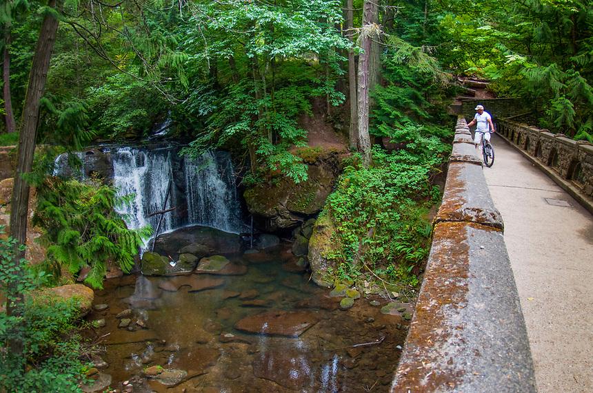 Whatcom Falls and Foot Bridge (Fisheye), Whatcom Falls Park, Bellingham, WA