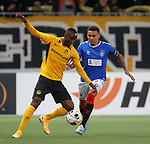 03.10.2019 Young Boys of Bern v Rangers: James Tavernier and Nicolas Moumi Ngmaleu