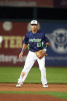 Vermont Lake Monsters shortstop Richie Martin (12) during a game against the Hudson Valley Renegades on September 3, 2015 at Centennial Field in Burlington, Vermont.  Vermont defeated Hudson Valley 4-1.  (Mike Janes/Four Seam Images)