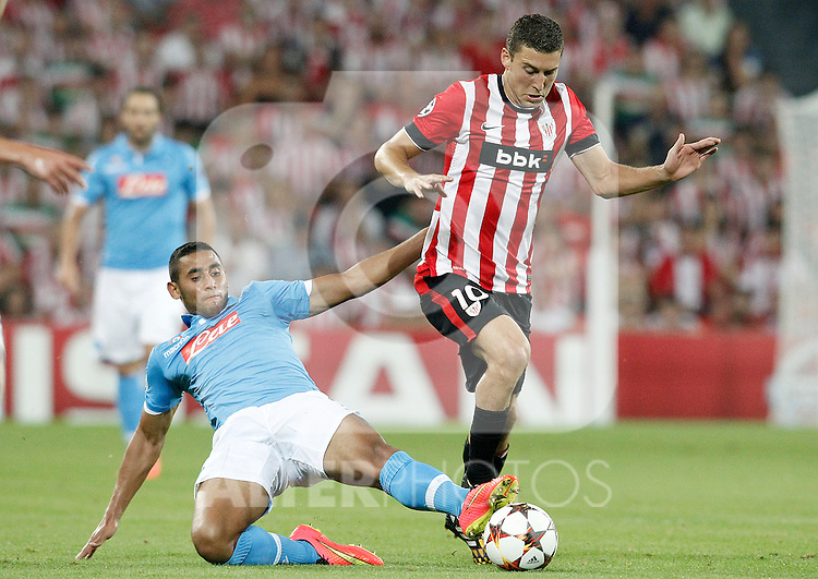 Athletic de Bilbao's Oscar de Marcos (r) and SSC Napoli's Faouzi Ghoulam during Champions League 2014/2015 Play-off 2nd leg match.August 27,2014. (ALTERPHOTOS/Acero)