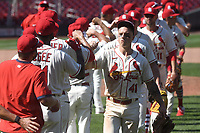 25th July 2020, St Louis, MO, USA;  St.Louis Cardinals players celebrate after winning a Major League Baseball game between the Pittsburgh Pirates and the St. Louis Cardinals